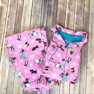 PJ Salvage 2pc Pink Doggy Christmas Flannel PJs